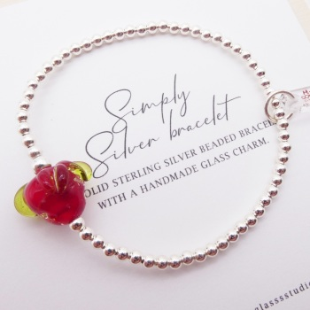 S/M  Simply Silver Bracelet with a Glass Strawberry