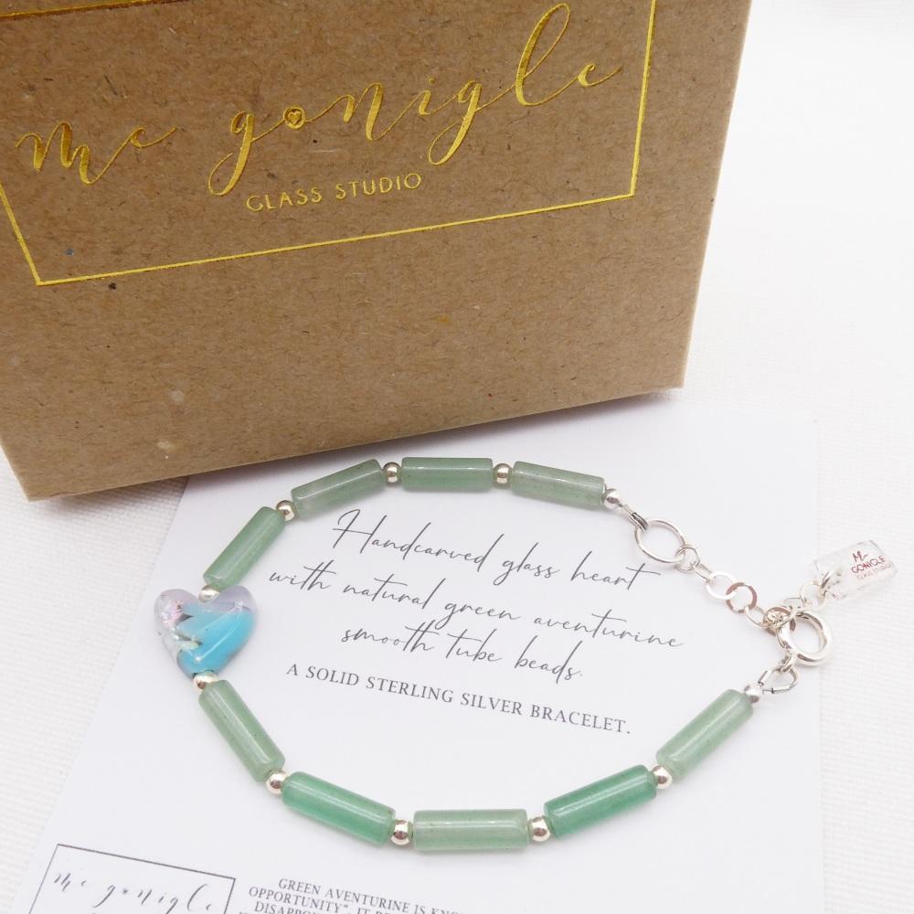 Silver Green Aventurine Tube Bracelet