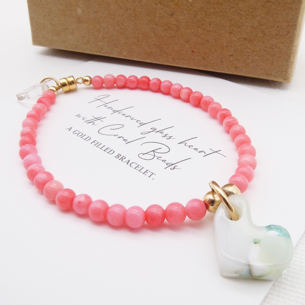 Coral and Heart Bracelet