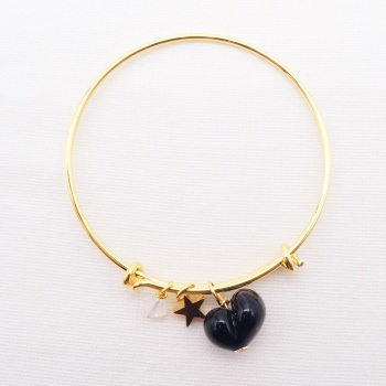 Black glass Heart On a 14K Gold Plated Bangle