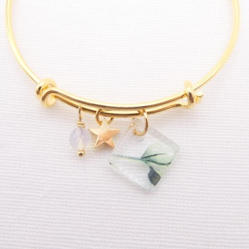 Clear foliage watercolour Glass Tile  On a 14K Gold Plated Bangle