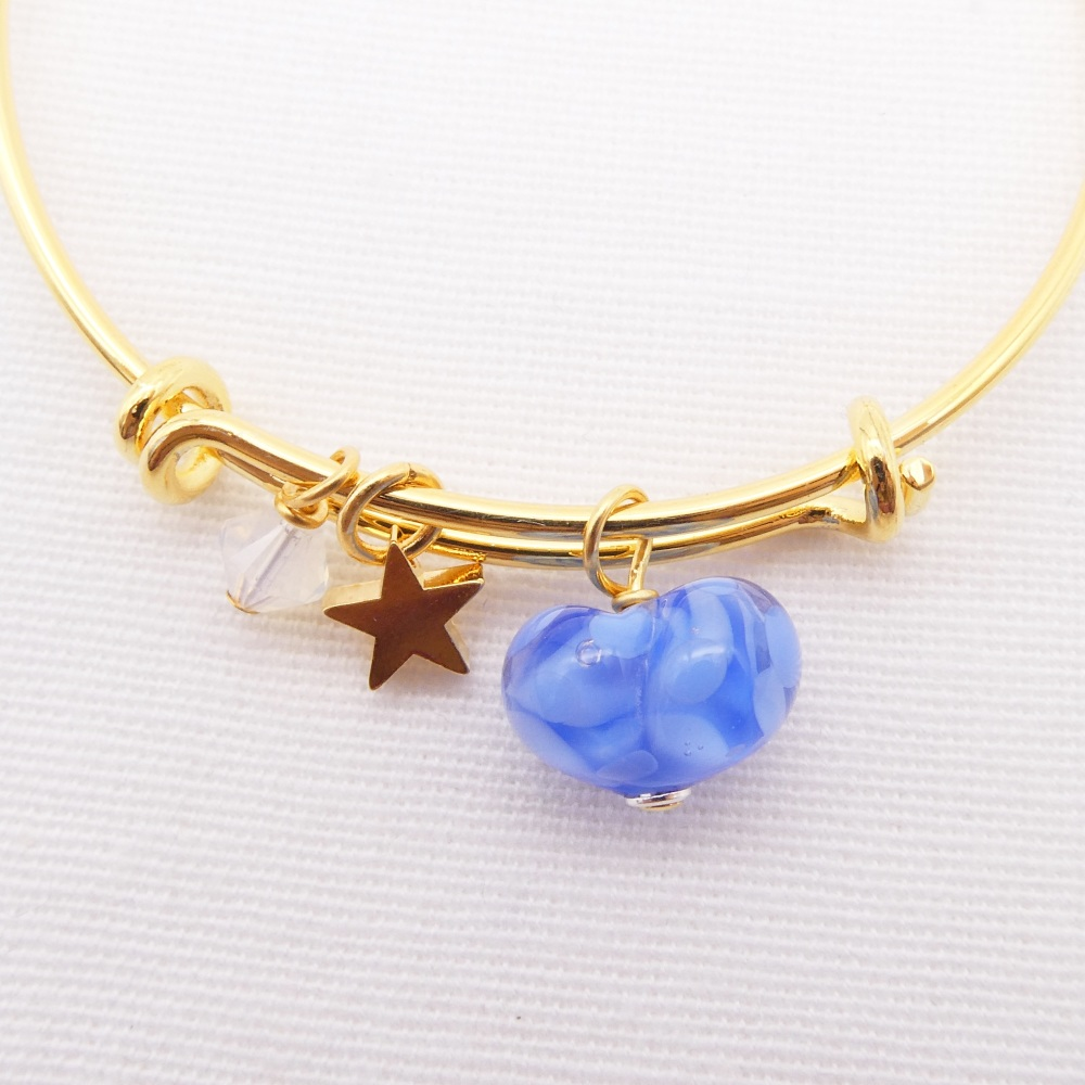 Blue glass Heart On a 14K Gold Plated Bangle
