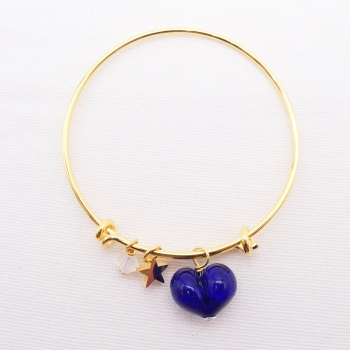 Navy glass Heart On a 14K Gold Plated Bangle