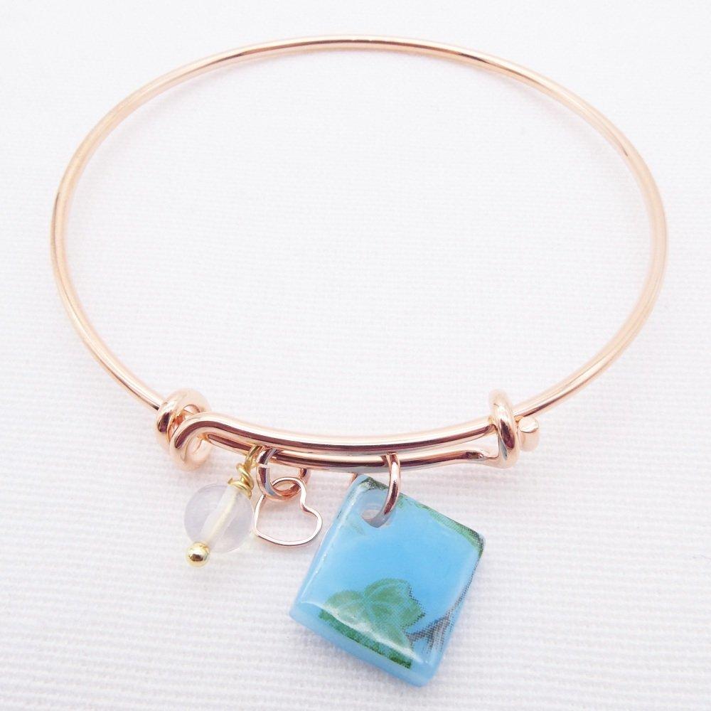 Turquoise foliage Glass Tile  On a Rose Gold Plated Bangle