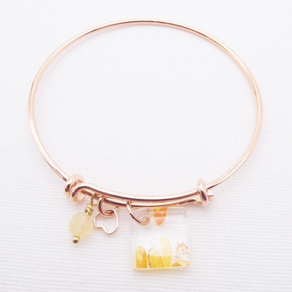 Clear floral Glass Tile  On a Rose Gold Plated Bangle -Yellows