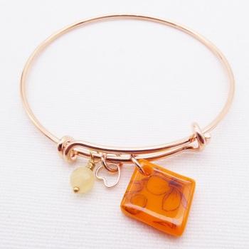 Orange floral Glass Tile  On a Rose Gold Plated Bangle