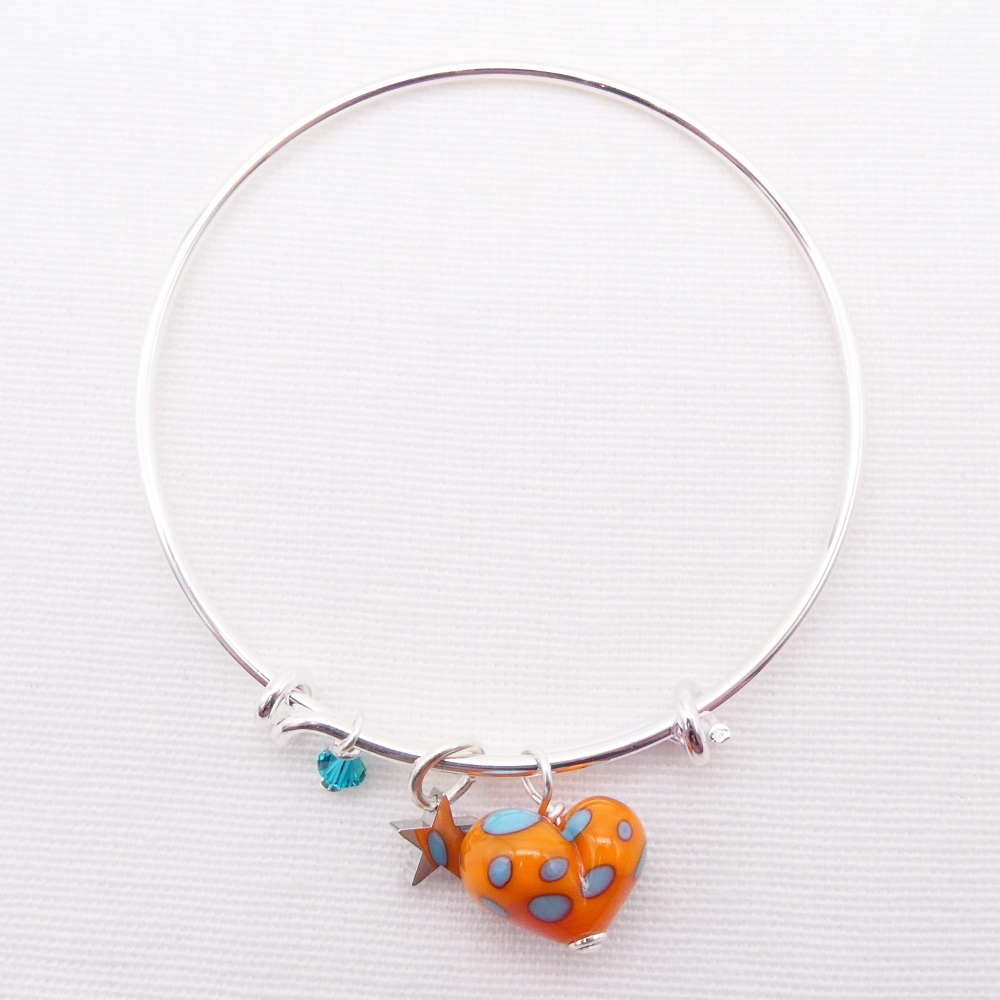 Orange and Turquoise  glass Heart On a silver Plated Bangle