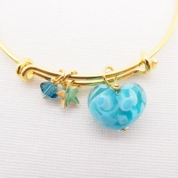 Turquoise glass Heart On a 14K Gold Plated Bangle
