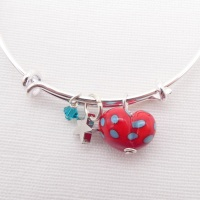 Red and Turquoise  glass Heart On a silver Plated Bangle