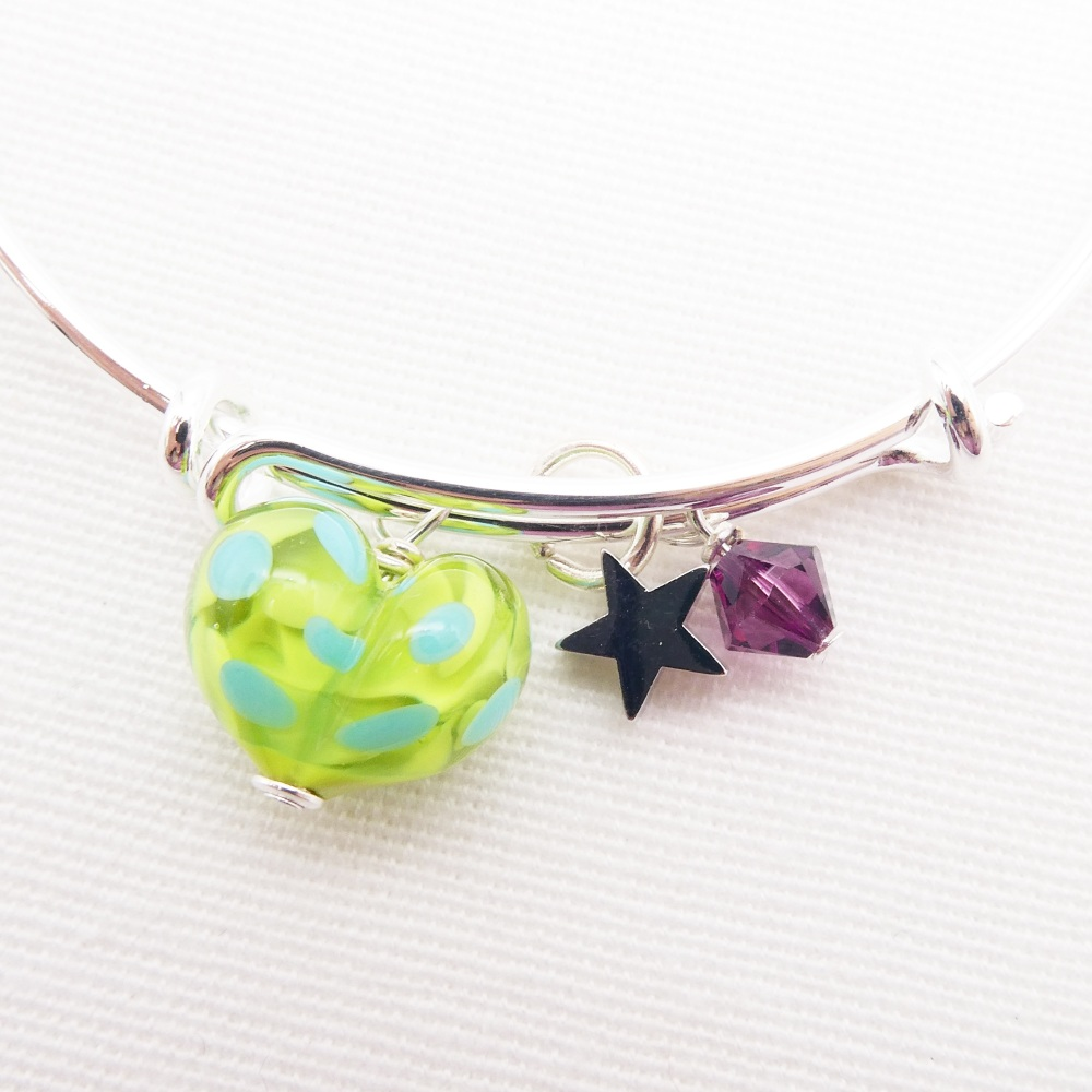Green and Turquoise glass Heart On a silver Plated Bangle