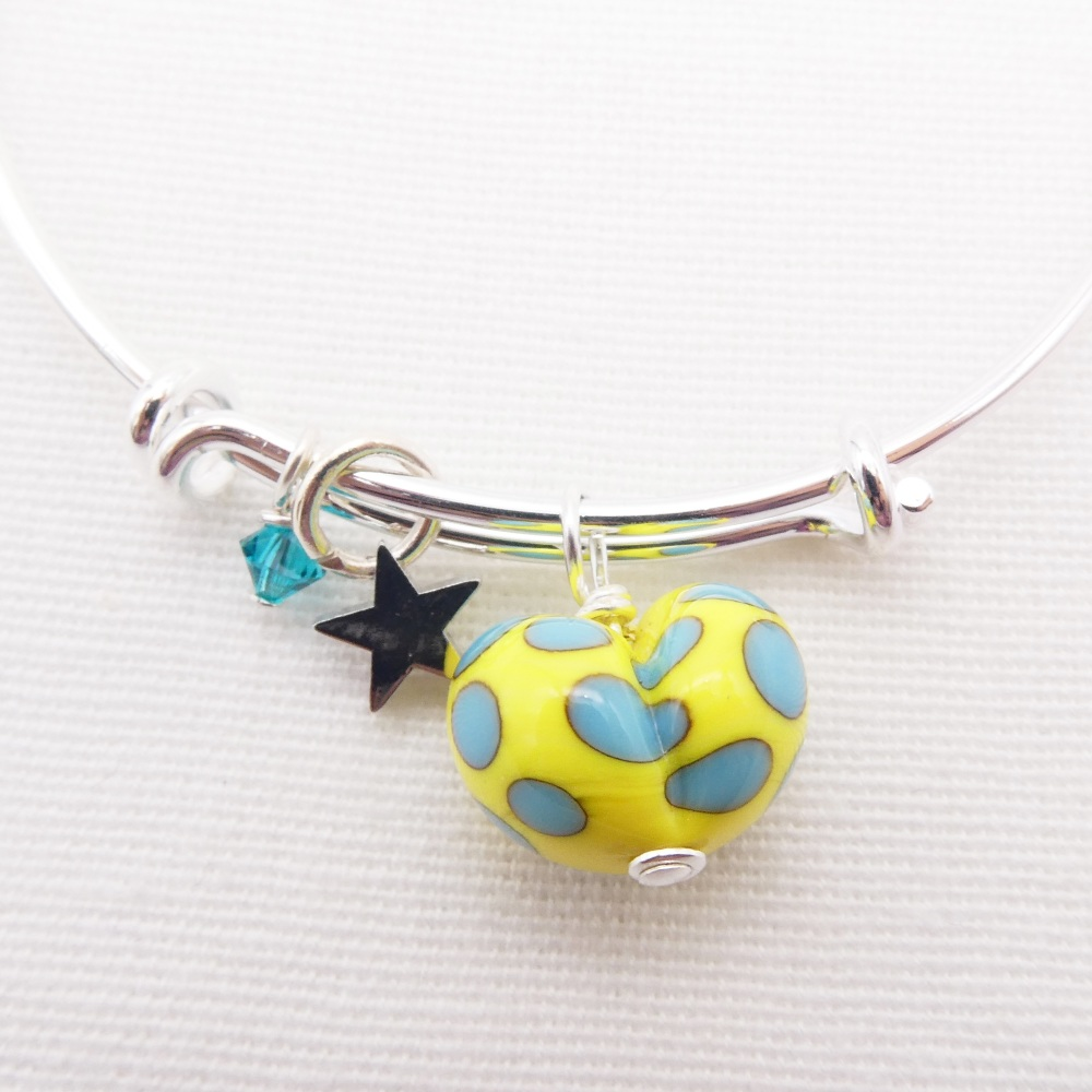 Yellow and Turquoise glass Heart On a silver Plated Bangle