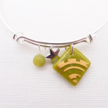 Olive Green sun Glass Tile  On a Silver Plated Bangle