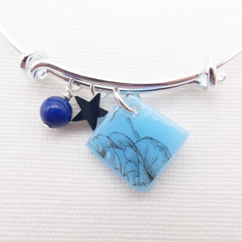 Powder Blue Floral drawing Glass Tile  On a Silver Plated Bangle