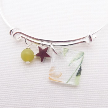 Clear Watercolour Foliage Glass Tile  On a Silver Plated Bangle