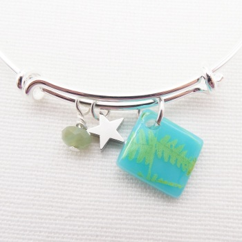 Turquoise Fern foliage Glass Tile  On a Silver Plated Bangle