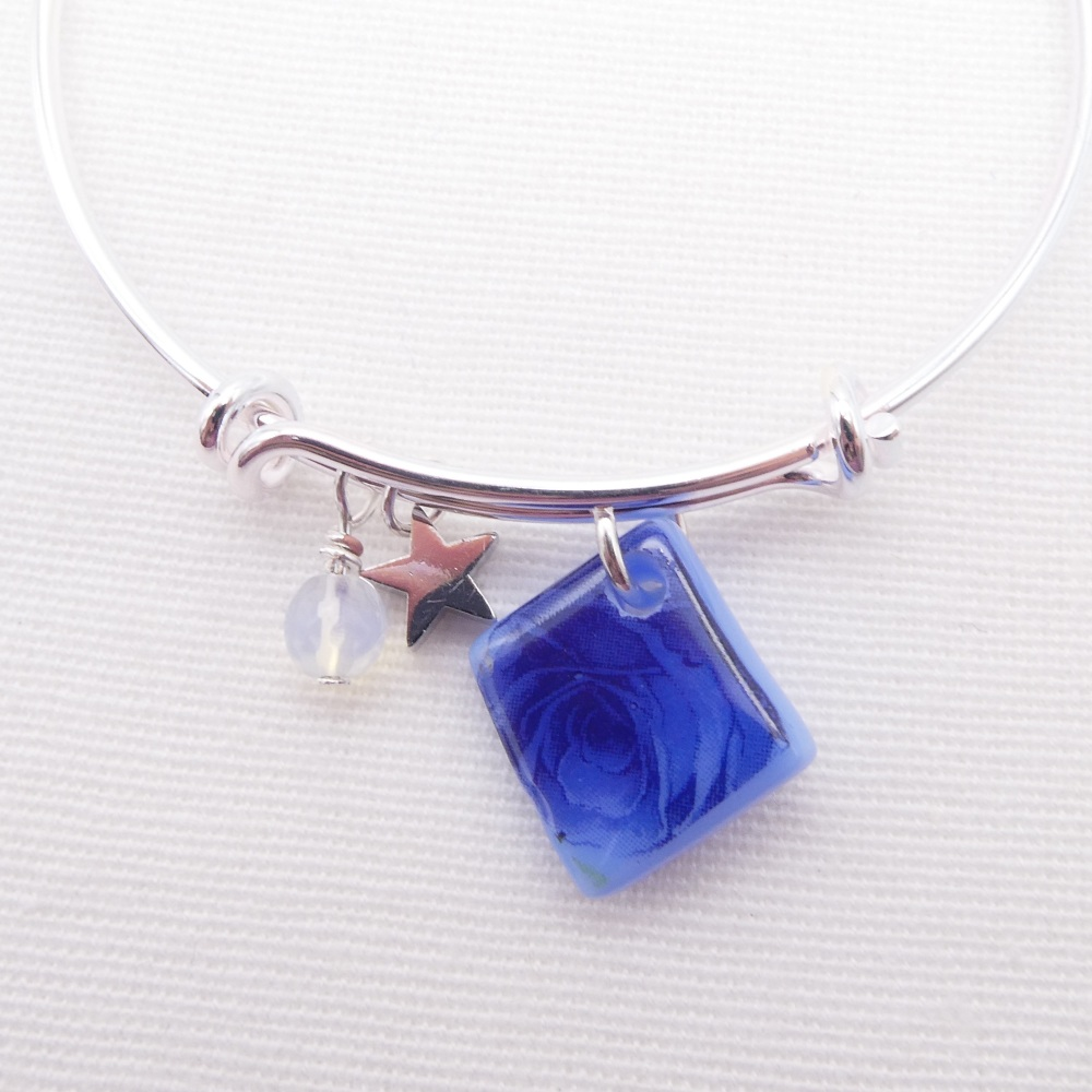 Blue Floral Glass Tile  On a Silver Plated Bangle
