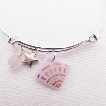 Pink Sun Glass Tile  On a Silver Plated Bangle