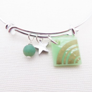 Mint green Sun Glass Tile  On a Silver Plated Bangle