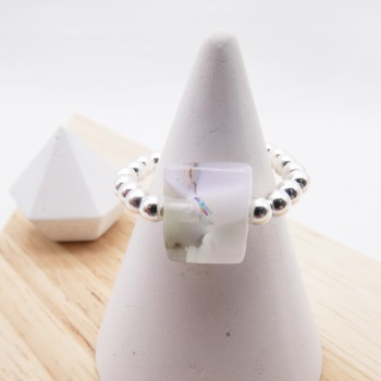 Simply Silver Ring- Pastel glass nugget
