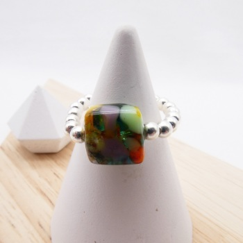 Simply Silver Ring- Multicoloured glass nugget
