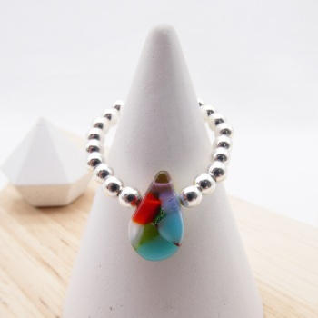 Simply Silver Ring- Multicoloured raindrop