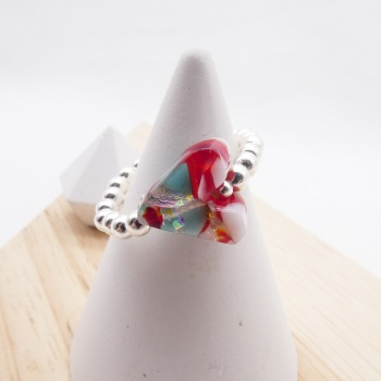 Simply Silver Ring-Glass Heart #1
