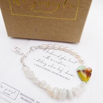 Freshwater Pearl Bracelet with Moonstones
