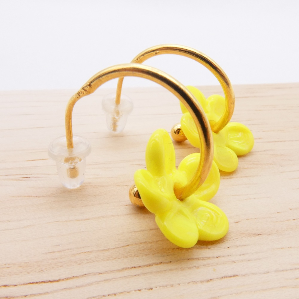 Medium Yellow  glass Flower hoop earrings-gold