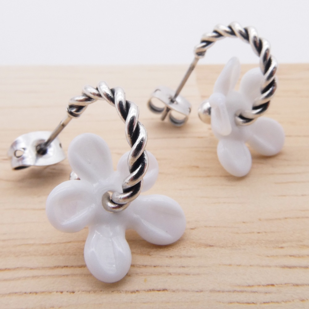 Small Translucent white Flower twisted  hoop earrings-silver
