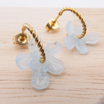 Small Translucent Turquoise Flower twisted  hoop earrings-gold