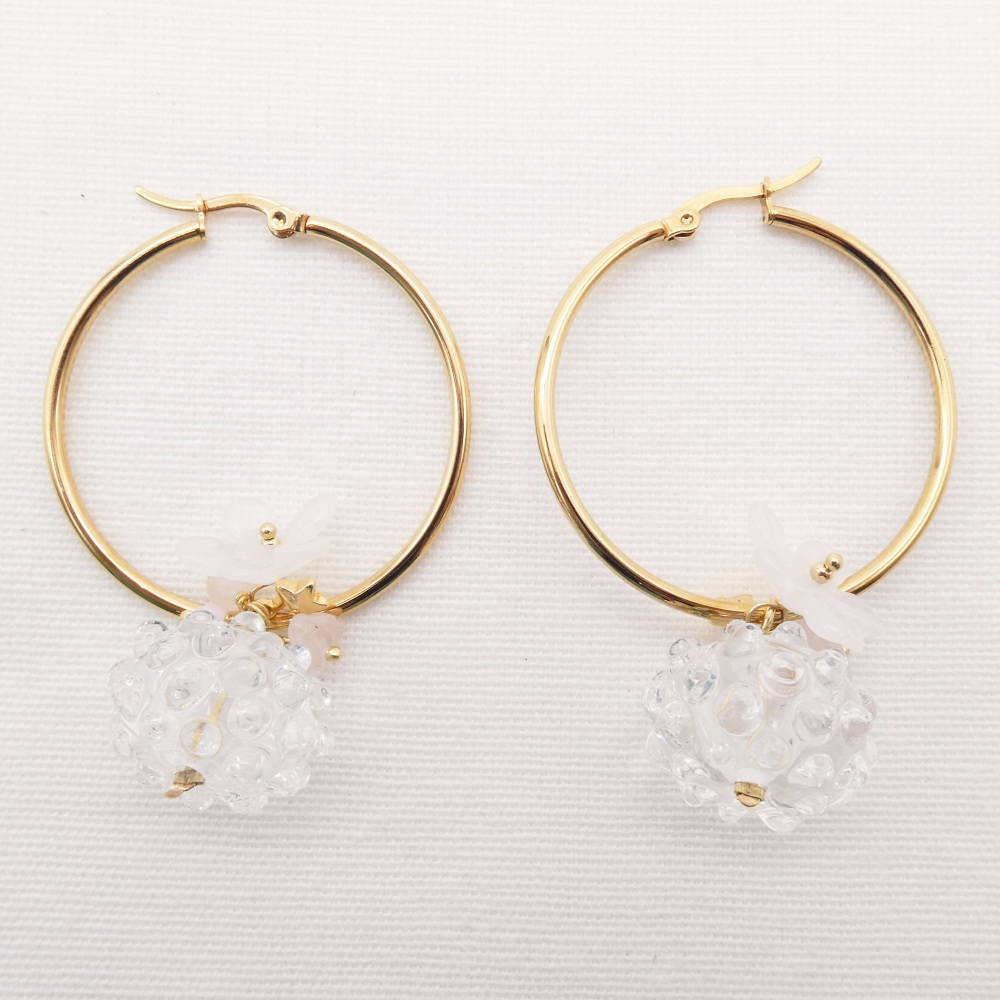 Large Clear Glass Cluster Creole hoop earrings