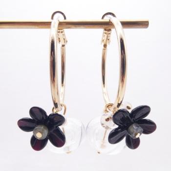 Black Glass Beaded Creole hoop earrings-X Big