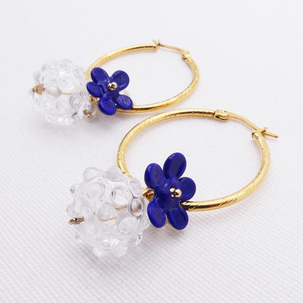 Navy Glass Beaded Creole hoop earrings-Big