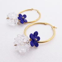 Royal Blue Glass Beaded Creole hoop earrings- X Big