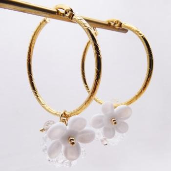 White Glass Beaded Creole hoop earrings-X Big