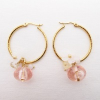 Peach Glass Beaded Creole hoop earrings-Big