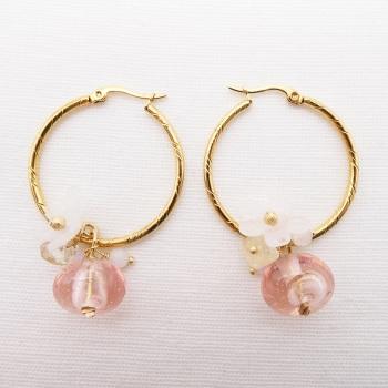 Peach Glass Beaded Creole hoop earrings-Big