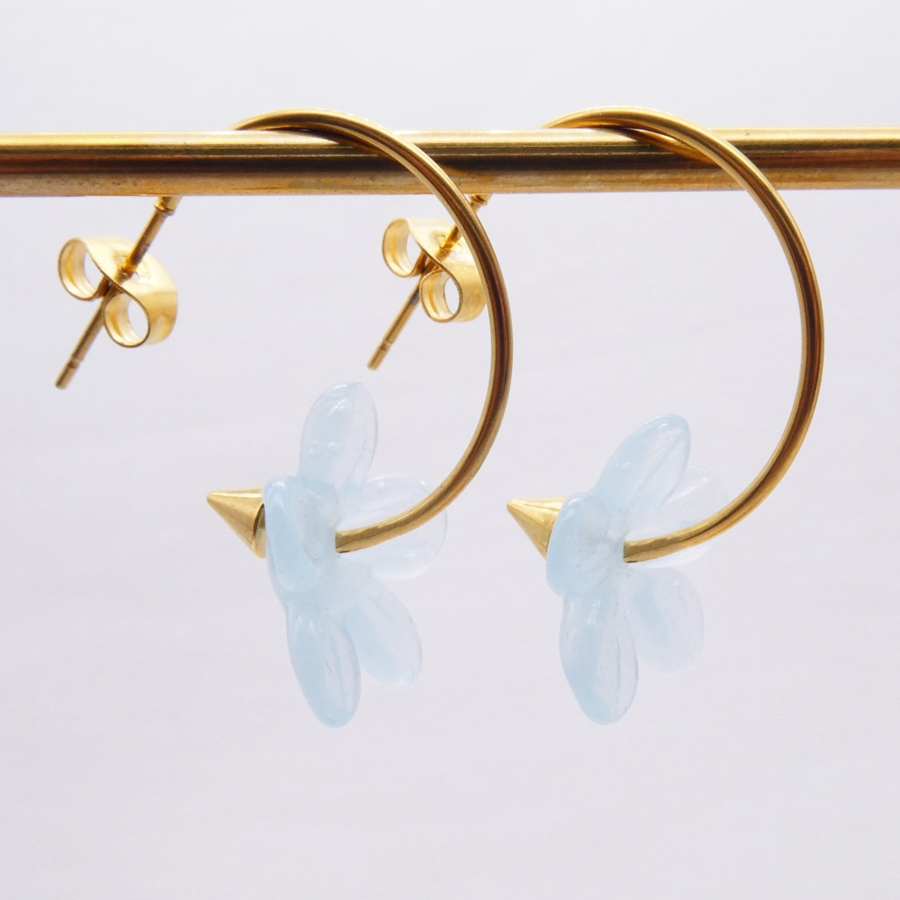 Big translucent turquoise  glass Flower hoop earrings