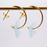 Big translucent turquoise  glass Flower hoop earrings-gold