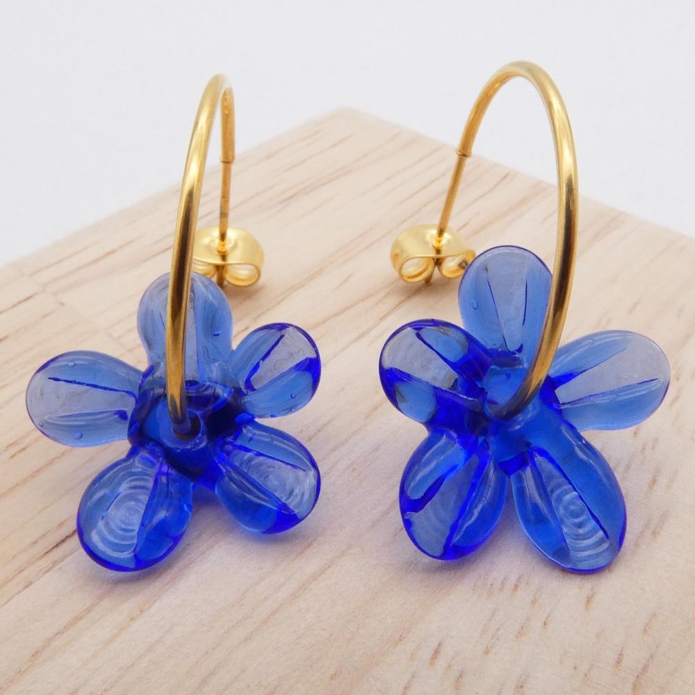 Big blue glass Flower hoop earrings-gold
