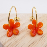 Big orange glass Flower hoop earrings-gold
