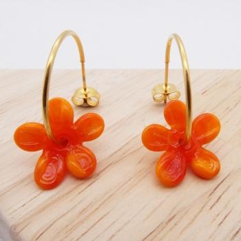 Big orange glass Flower hoop earrings-gold