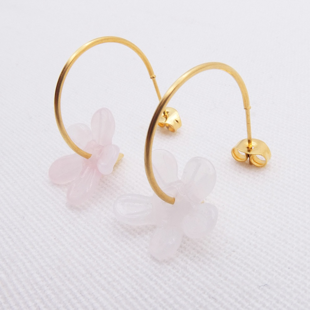 Big Light Pink glass Flower hoop earrings-gold