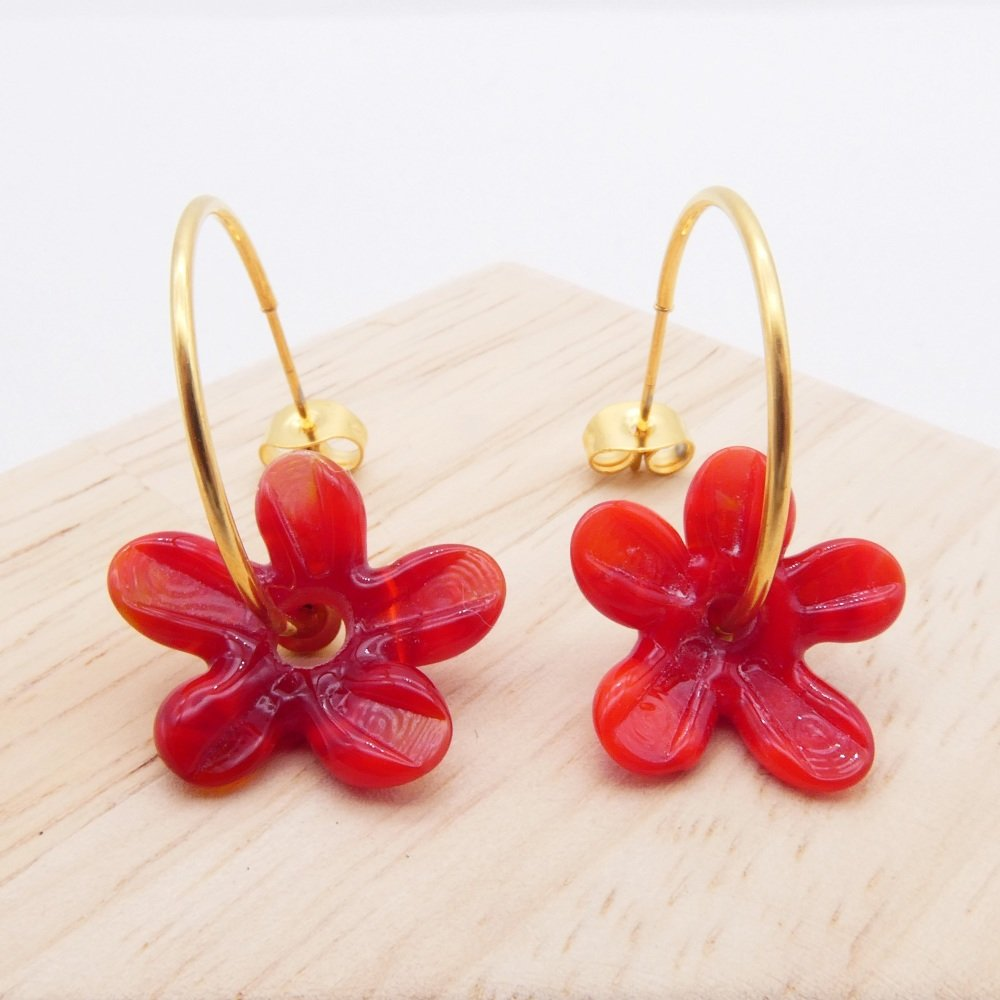 Big red glass Flower hoop earrings-gold