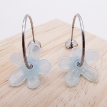 Big translucent turquoise  glass Flower hoop earrings-silver
