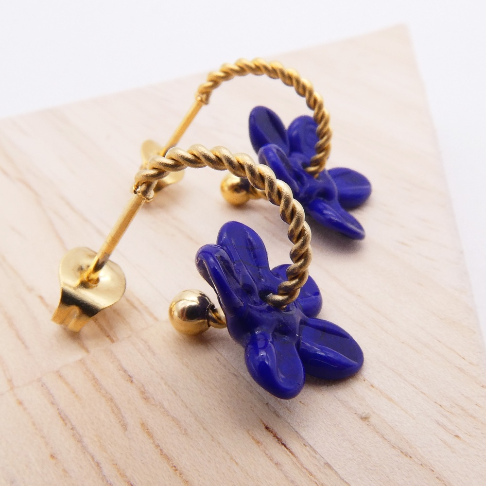 Small Navy Flower twisted  hoop earrings-gold