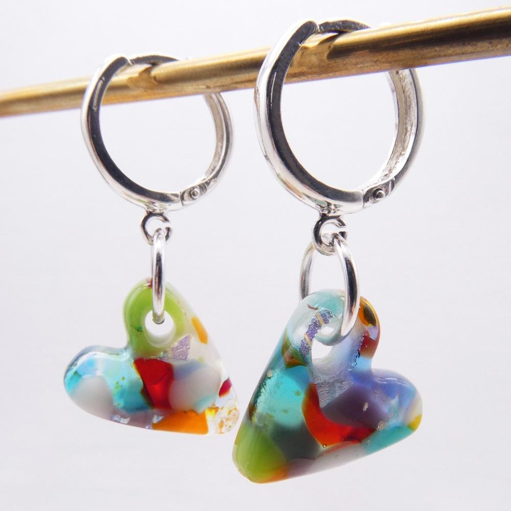 Multicoloured  Glass Heart earrings on sterling silver