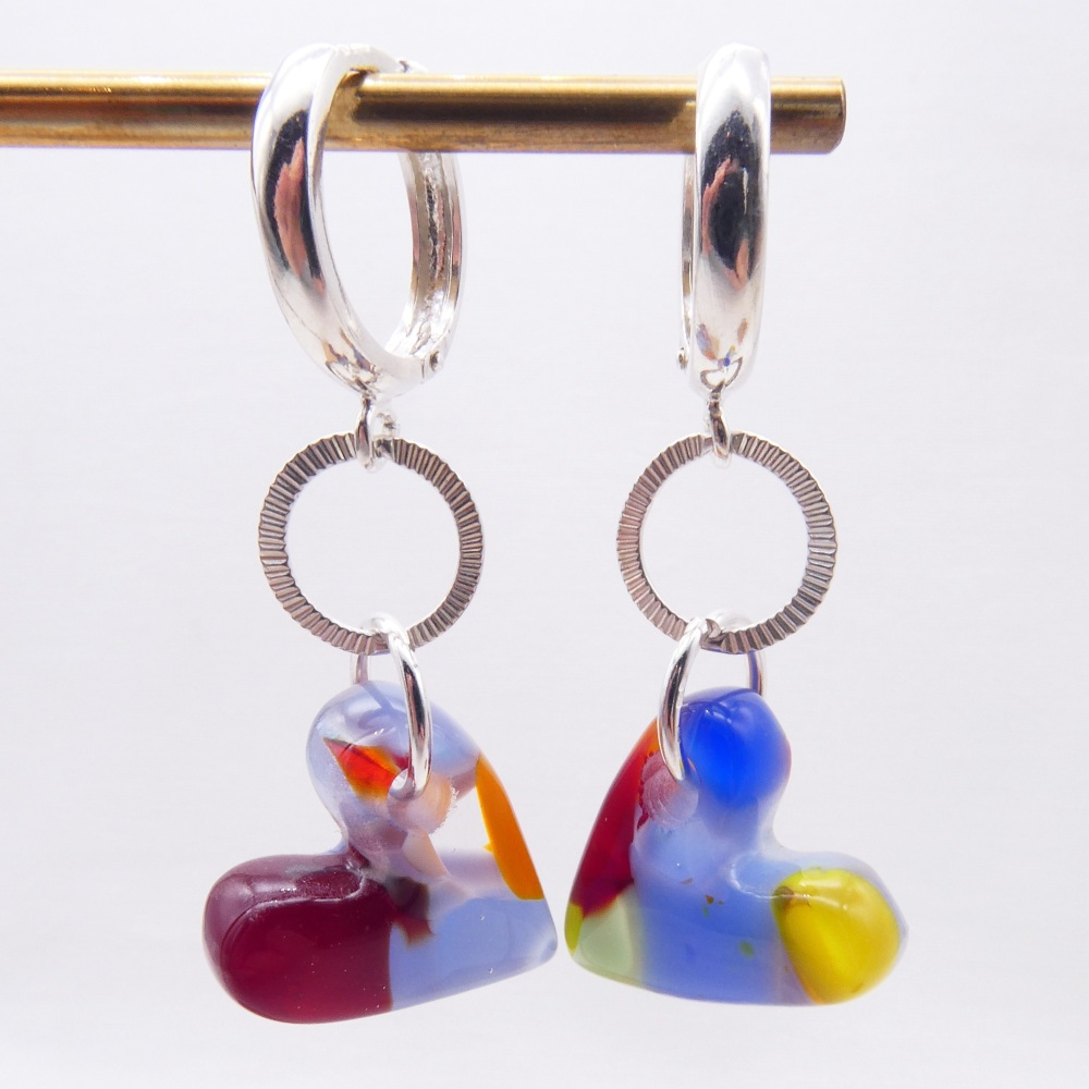 Multicoloured  Glass Heart earrings on sterling silver-long