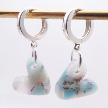 Pastel Glass Heart earrings on sterling silver
