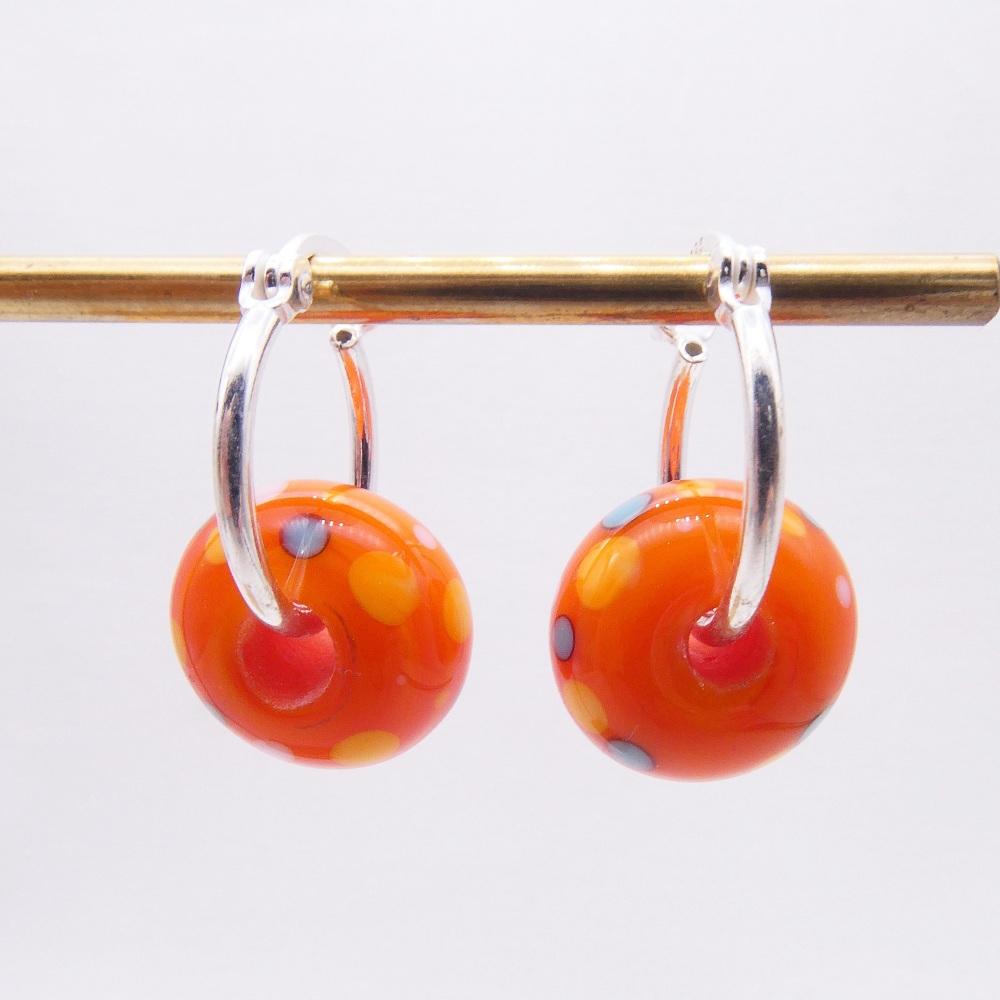 Silver beaded hoops-Orange